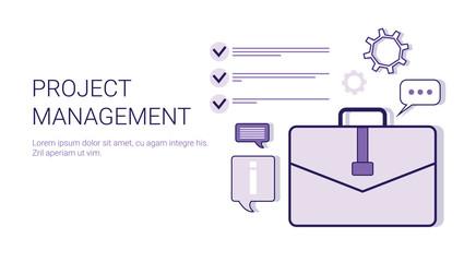 Project Management Business Idea Development Concept Web Banner With Copy Space Vector Illustration