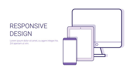 Responsive Design Modern Technology Concept Template Web Banner With Copy Space Vector Illustration