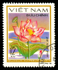 Ukraine - circa 2018: A postage stamp printed in Vietnam shows drawing flower Sacred lotus - Nelumbium nuciferum gaertn. Series: Aquatic flowers.