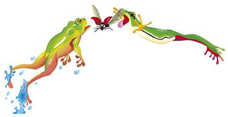 deux grenouilles sautent ensemble pour attraper une coccinelle