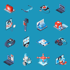 Digital Medicine Isometric Icons