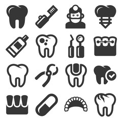 Dental Icons Set on White Background. Vector