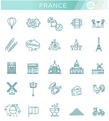 Set vector line icons in flat design France