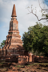 Aged Buddhist Stupa at Ayutthaya historical park in Thailand