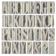alphabet and punctuation in wood type