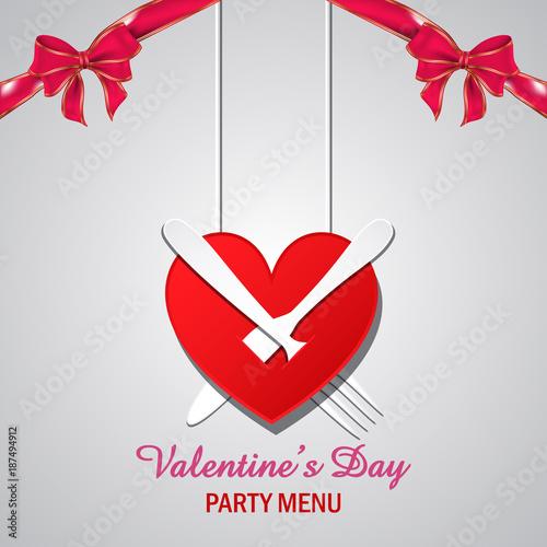 Valentines Day Heart Menu Design Background Valentines Day Heart