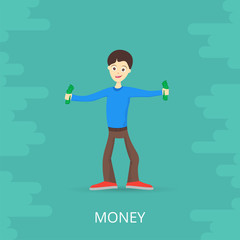 Young man is happy about money. Holds money in his hands. Vector illustration