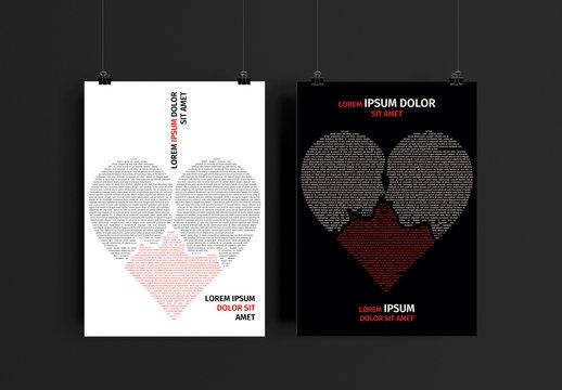 Valentine's Day Text Heart Flyer Layout