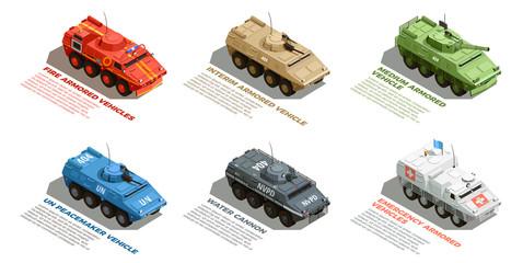 Army Military Vehicles Isometric Set