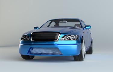 Blue luxury dream sports car in studio