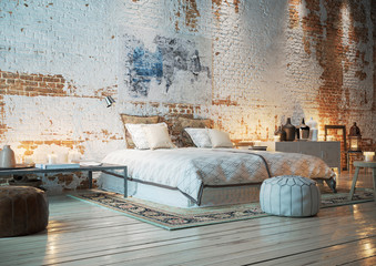 bett in Loft Wohnung mit Ziegelwand - bedroom in vintage brick loft apartment