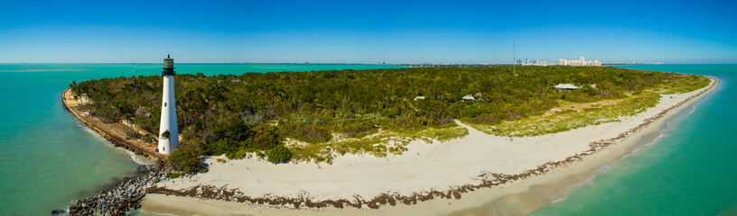Aerial video Bill Baggs State Park and lighthouse Miami Florida USA