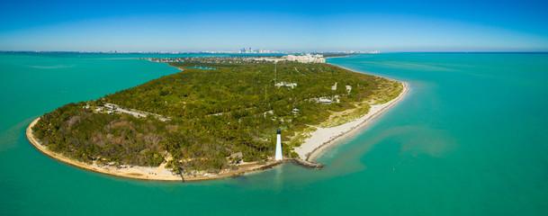Aerial shot of the El Farito Lighthouse Cape Florida Miami
