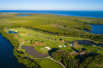 Aerial landscape photo of a coastal golf course