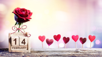 Valentines Day - Calendar Date With Rose And Hearts Decoration