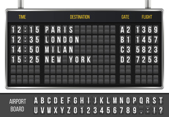 Creative vector illustration of realistic flip scoreboard, arrival airport board with alphabet, numbers isolated on transparent background. Art design. Analog timetable font. Concept graphic element