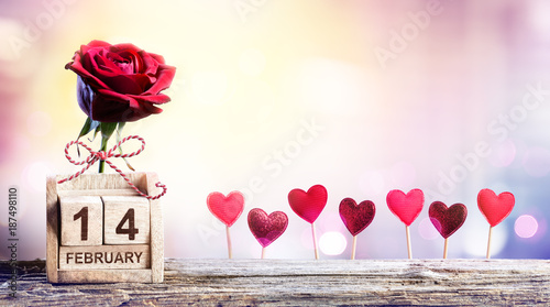 Calendar Rose Day : Quot valentines day calendar date with rose and hearts
