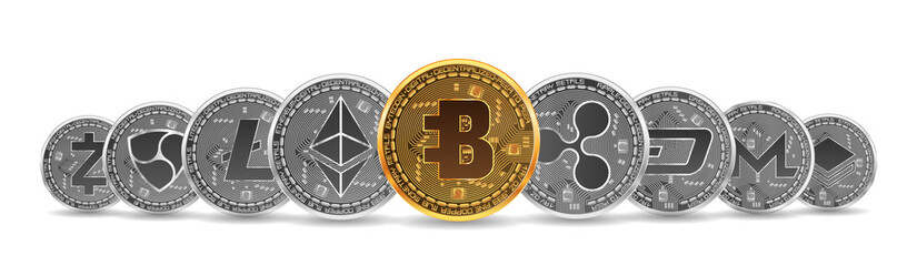 Set of gold and silver crypto currencies with golden bytecoin in front of other crypto currencies as leader isolated on white background. Vector illustration. Use for logos, print products