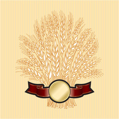 Hand drawn wheat sheaf on beige background with banner