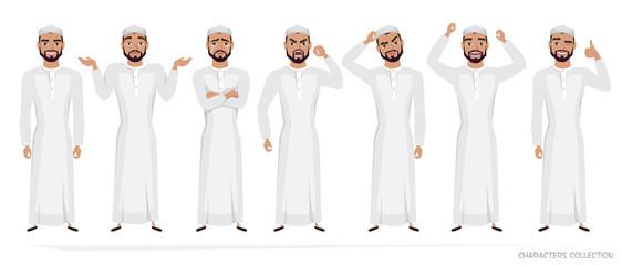 Muslim Arab Man character set of emotions