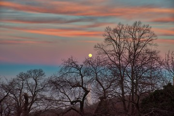 A very colorful sunset at Pelion mountain with view of the first day of 2018 full moon