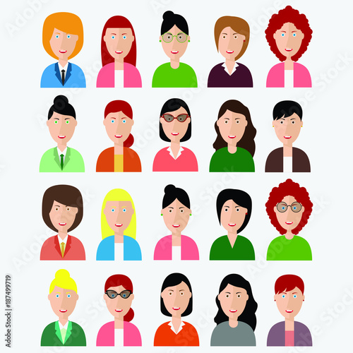 "Crowd Of Indian Women Vector Avatars Stock Vector: ""Group Of People Diversity, Women Avatar Icon. People Icon"