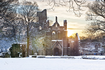 Kirkstall Abbey in snowy morning, Leeds, England, UK