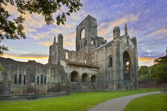 Kirkstall Abbey at sunset, Leeds, England, UK