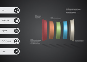3D illustration infographic template with five deformed cylinders horizontaly arranged