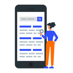 Vector illustration of a woman searching information on the internet, SEO