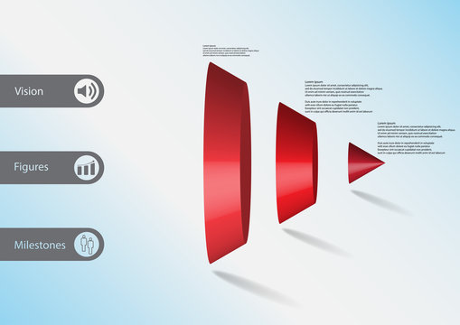 3D illustration infographic template with triangle cone vertically divided to three parts