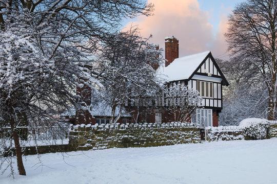 Snowed-in House on Morris Lane in Leeds, Yorkshire, UK