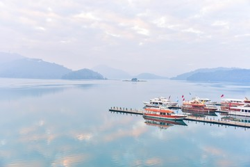 Breathtaking View of Sun Moon Lake with Boat Pier