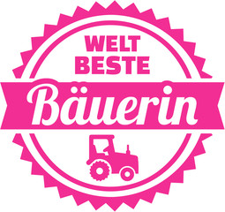 Fototapete - Worlds best farmer emblem female german