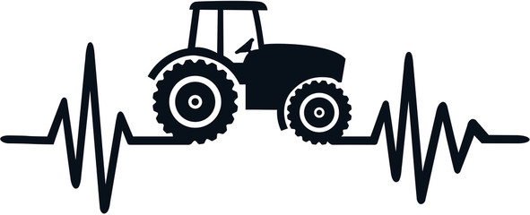 Wall Mural - Farmer heartbeat line with tractor