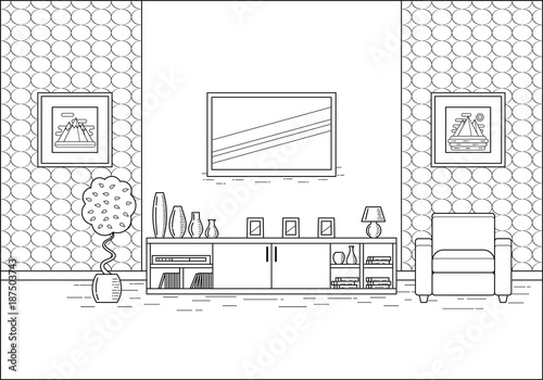 Outline Room Interior. Linear Vector Illustration. Living Room In Flat  Design. Line Art