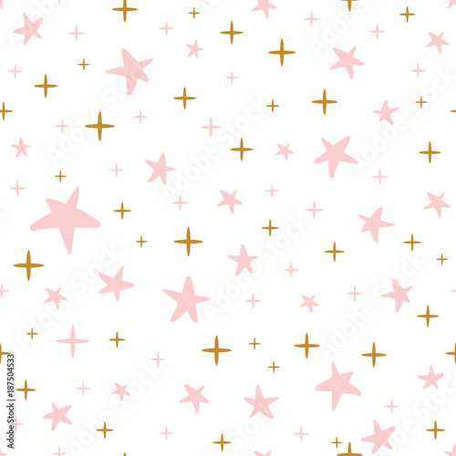 Hand Drawn Seamless Pattern Decoreted Gold Pink Stars For Christmas Backgound Or Baby Shower Wallpaper