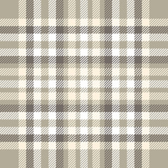 Plaid check pattern in tan, taupe, white and pale orange. Seamless fabric texture for digital textile printing. Vector graphic.