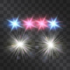 Police car vector lights on transparent background. Red and blue siren flashes, road warning lights, safety, justice and protection symbol, flares in the darkness. Night projectors.