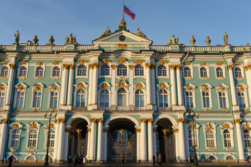 Facade of the Winter Palace, house of the Hermitage Museum, iconic landmark in St. Petersburg, Russia.
