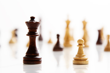 Business concept - chess - white pawn against a black king - competition