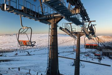 Fototapeta Ski lift in Sassotetto, Italy