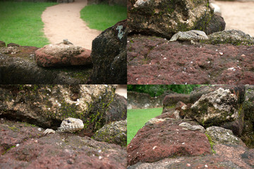 A collage of four photos of a gecko lizard hiding in rocks in different angles