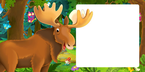 cartoon scene with happy and funny looking moose in the forest - with space for text - illustration for children
