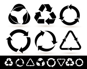 Recycled cycle arrows icon set. Recycled eco black icon. Vector illustration. Isolated on white background