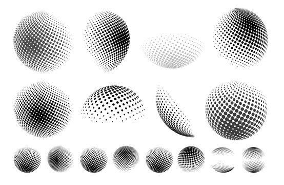 Set of abstract globe dotted sphere, 3d halftone dot effect. Earth shape. It can be used as logo, icon. Vector illustration. Isolated on white background