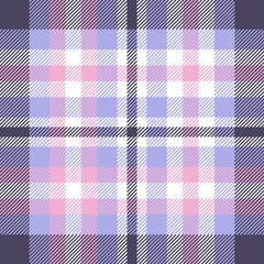 Plaid check pattern in pink, periwinkle blue, dusty purple and white. Seamless fabric texture for digital textile printing. Vector graphic.