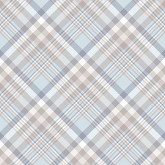 Plaid check pattern in pale brown, beige, white and blue. Seamless fabric texture for digital textile printing. Vector graphic.