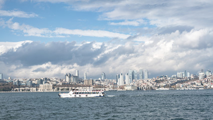 Panoramic cityscape over the Bosphorus in Istanbul Turkey