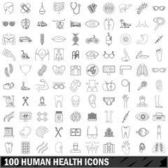 100 human health icons set, outline style